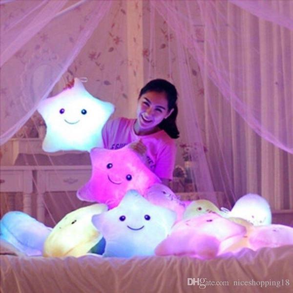 Stuffed Dolls LED Stars Light Colorful Pillows Popular Plush Toys for Kids shinning star gift for baby #240