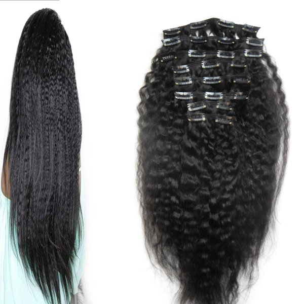 """Full Head Kinky Curly Clip In Human Hair Extensions Cheap 9pcs/Set Grade 6A Unprocessed Virgin Mongolian Curly Clip Hair Extensions 18"""" 20"""""""