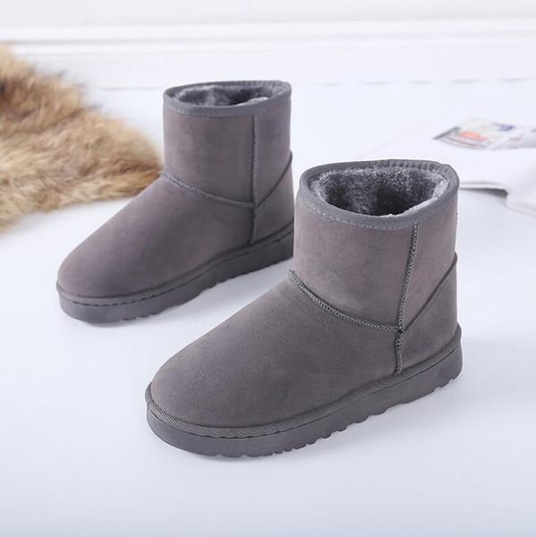 Düz kaymaz kısa tüp ile klasik kar botları kadın büyük boy kış yeni düz alt eski kalın sıcak ayakkabı