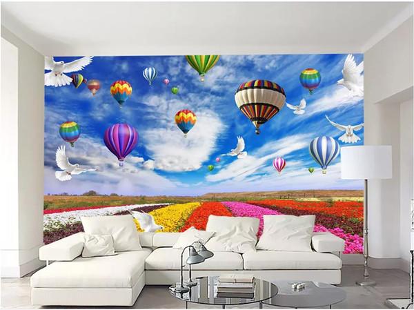Individuelle Fototapeten für Wände 3 d Wandbilder wallpaper Blauer Himmel, weiße Wolken, Landschaft, Blumenballon, Tauben, Hintergrundbild