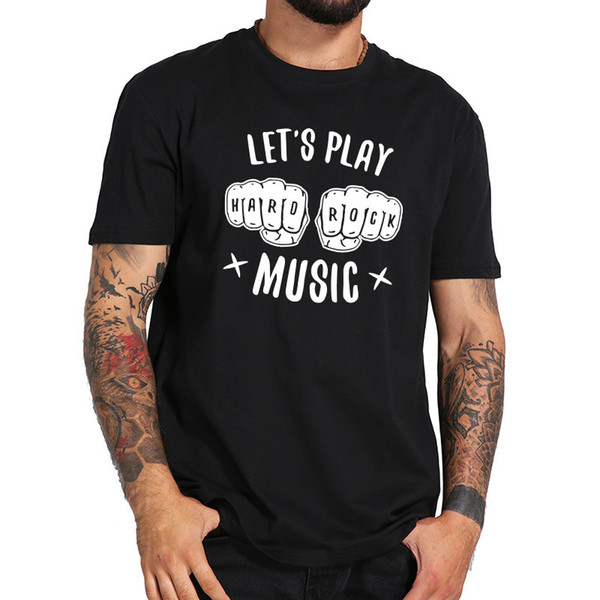 Rock And Roll Guitare T Shirt Musique Cool 100% Coton T-shirt Hommes Noir Casual Hip Hop Streetwear Tops Tee Eu Taille