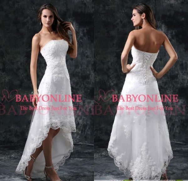 Oi-baixo Lace Elegante Aline Vestidos de Casamento 2019 Strapless Appliqued Barato Beading Vestidos De Noiva Sem Encosto Curto Vestido De NoivaCPS110