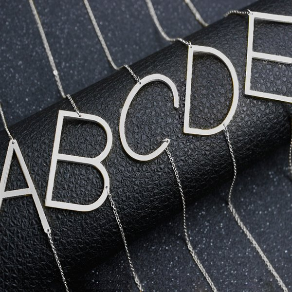 Acier inoxydable A-Z English Alphabet Initial Collier en argent plaqué or Majuscule Pendentif bijoux à la mode pour les femmes DROP SHIP 162359