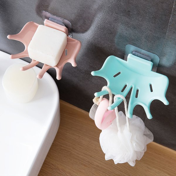 Maple Leaf Design PVC Soap Box Punch-free Strong Adhesive Soap Dishes Soap Cases Bathroom Drain Holder Tray Accessories