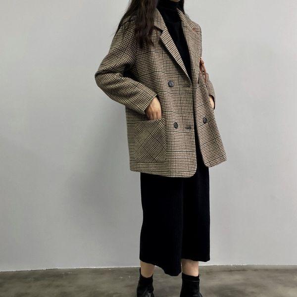 Kapitone ekose ceket palto houndstooth kış kadın ceket kadın yün ceket uzun kollu elbise dantel