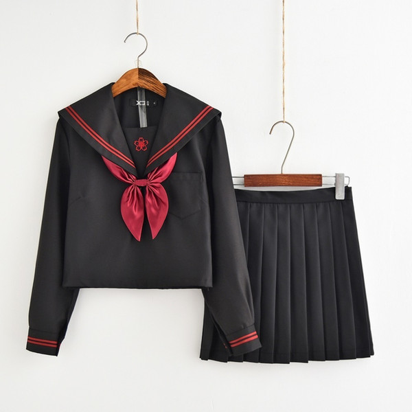 2018 Autumn Japanese School Uniforms For Girls Cute Long-length Sailor Tops Pleated Skirt Full Sets Cosplay JK Costume Series C18122701