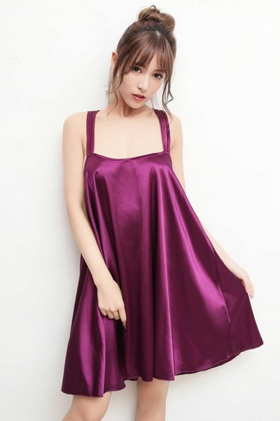 Free Shipping New sexy lingerie cosplay Six-color large size temptation suspender skirt thin section nightdress ladies silk silky pajamas
