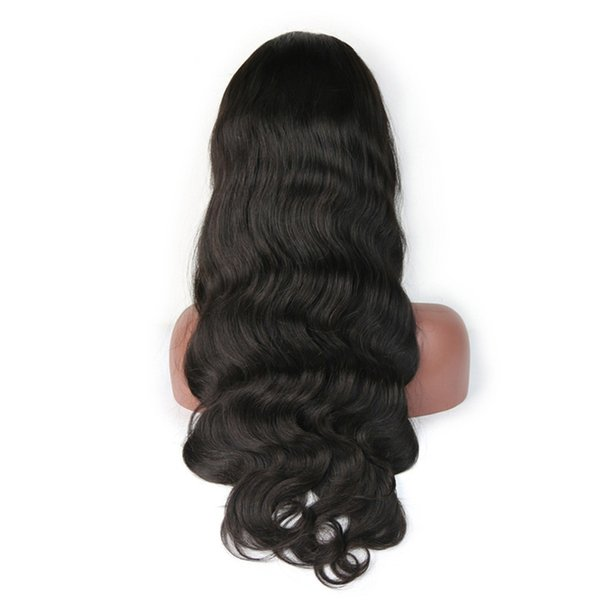 Cheap 8a fashion products unprocessed virgin remy human hair long natural color natural wave full lace cap wig for women
