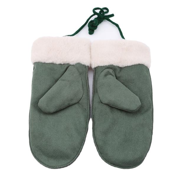 Gants chauds d'hiver de femme de velours épais de velours pour des bicyclettes beaux gants en laine tricotés de suède
