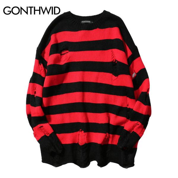 GONEWILD Ripped нашивки Knit Свитера Мужчины Hip Hop Hole Повседневный пуловер свитер мужской моды Сыпучие длинным рукавом Свитера красный
