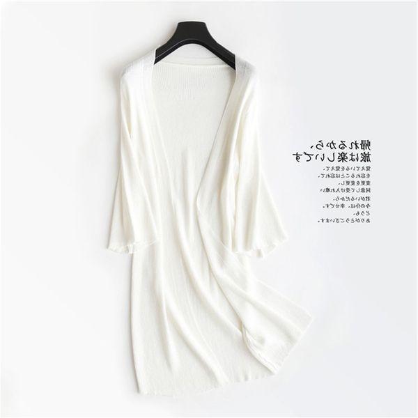 Z20 Cárdigan femenino Elegante Azul Negro Blanco Cárdigan largo Mujer Kimono de punto fino Cardigans Sweater 2018 Summer Poncho Coat Y190823