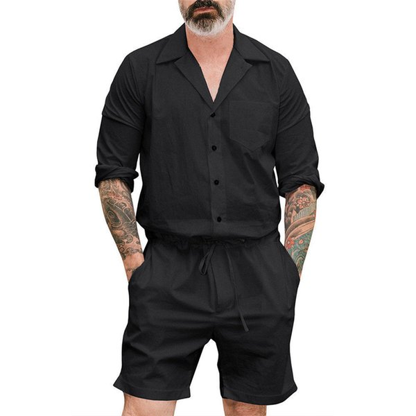 Men's Short One Piece Romper Playsuits man short Sleeve button shorts jumpsuits male Casual Cargo Pants palysuit Overalls summer