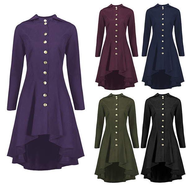 Wipalo Women Gothic Steampunk Long Tailcoat Lace Up Hooded Overcoat Jacket Vintage Autumn Ladies Victorian Jackets Plus Size 5XL