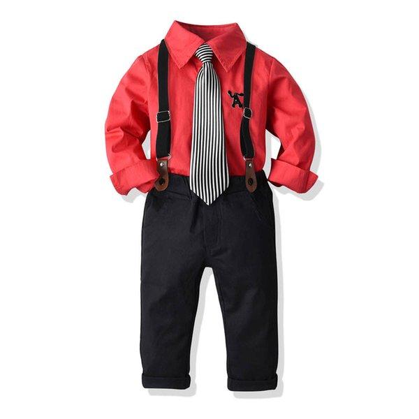 INS erkek takım elbise rahat erkek giyim setleri çocuklar giysi tasarımcısı erkek takım elbise düğün uzun kollu kravat gömlek + askı pantolon perakende A7510
