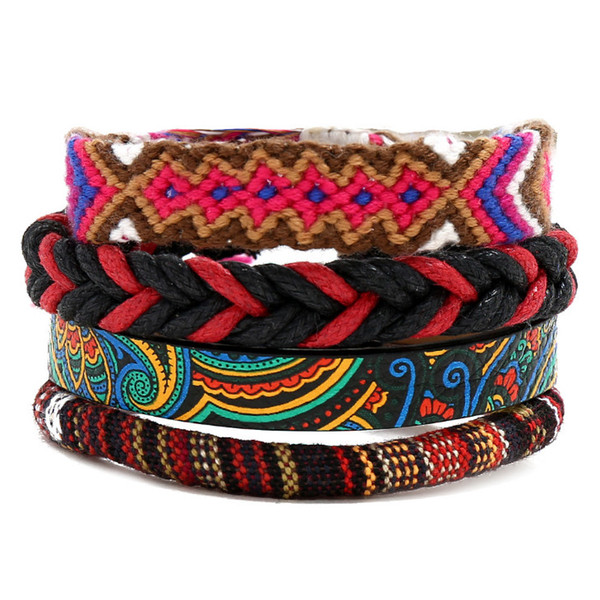 Fashion Boho Women Bracelet Cuff Handmade Braided Rope Leather Ethnic Charm Bangle Female Casual Wristbands Set Bohemian Jewelry