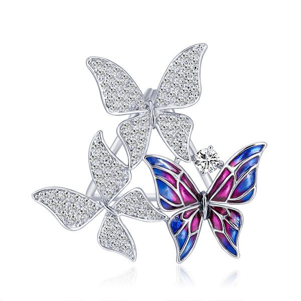 Alta Qualidade bonito borboleta Scarf Anel com Zircônia cúbica pedras Moda esmalte pinos para Xaile Atacado Jóias