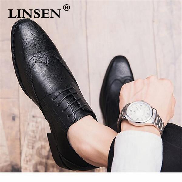 Marca de cuero de grano completo de los hombres Oxford zapatos estilo británico Retro tallado Bullock Formal hombres vestido zapatos tamaño 38-47