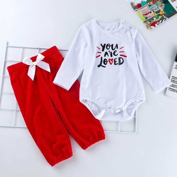 2020 New Baby Primavera Set di abbigliamento 0-12month infante appena nato Designer del fumetto a maniche lunghe pagliaccetto vestiti del cotone rompers + Pants = 2PCS / Set