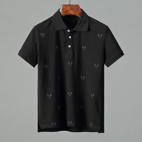 2018 nuevo diseñador de ropa de marca de lujo de los hombres de tela polo a rayas bordado abeja camiseta vuelta cuello abajo camiseta de las mujeres ocasionales