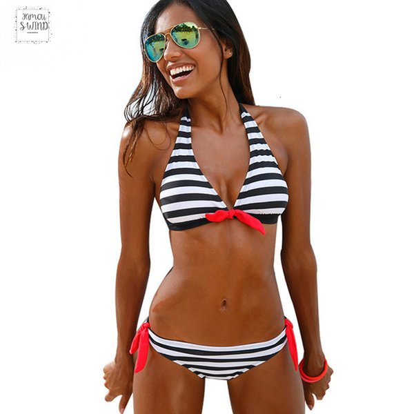 2019 Sexy Bikinis Mulheres Swimsuit Swimwear Halter Wear Plaid Top Brazillian Bikini Set maiô Summer Beach Biquinis Biquini