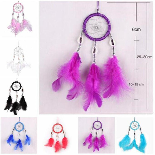top popular Dreamcatcher Feather Wall Hanging Decoration Handmade Wind Chimes Dream Catcher Car Bags Pendant Gifts Home Decor Craft Accessories C6959 2021