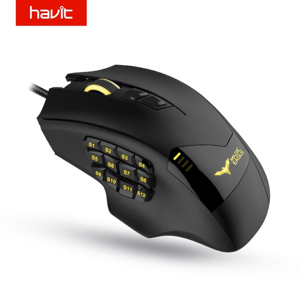 HAVIT Gaming Mouse Verdrahtete optische Maus 19 Programmierbare Tasten Computer 12000 DPI Gamer für PC HV-MS735