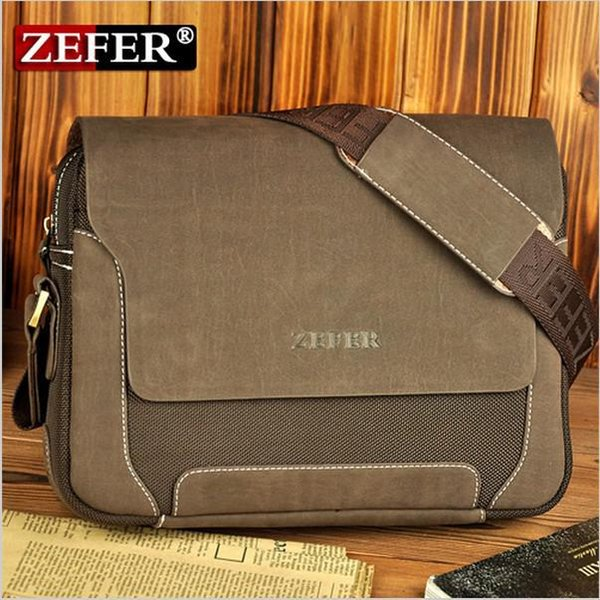 OP-zefer brand man fashion canvas bag shoulder car bags men leather high quality laptop briefcase freeshipping