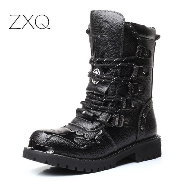 Punk Style Army Tactical Boots Men High Quality Outdoor Military Combat Boots Metal Buckle Punk Mid Calf Male Motorcycle Boots