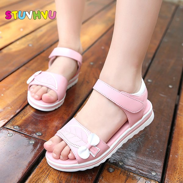 Summer Kids Beach Sandals For Girls 2019 Cute Princess Leaves Bow Shoes Students Soft Bottom Pink And White Size 27-36 Y19051303