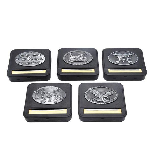 Yeni Metal Sticker Siyah Metal Otomatik Haddeleme Makinesi Kutusu Kasa Sigara Sigara Tütün Rulo 70 MM Kağıtları Sigara Tutucu Kuru Ot
