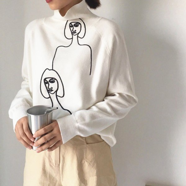 Winter Korean Women Oversized Sweater Streetwear Turtleneck Character Embroidery Pullovers individuality Cashmere Knitted