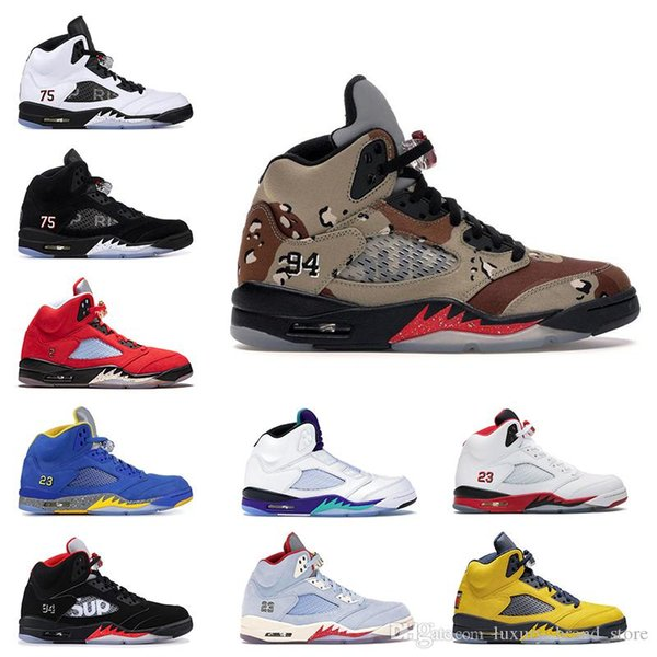 Luxury Leather Jumpman 5 5s Basketball shoes Desert Camo Red Trophy Room Michigan SUP PSG X Pairs Black White Olympic Mens Trainers Sneakers