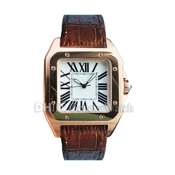Luxury Watch W20108Y1 Mens Designer Watches Square 39mm Rose Gold 316L Steel Case Automatic Wristwatch Brown Leather Strap montre de luxe