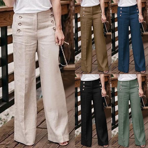 Nova Marca de Algodão De Linho Largura Calças Perna Moda Feminina Casual Solto Cintura Alta Calças Femininas Soltas Pants Botão Sólido Outerwear