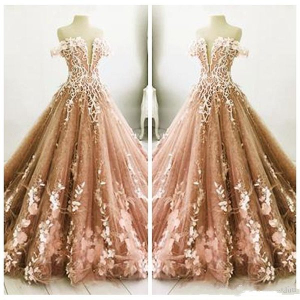 Off Shoulder Lace Adorned Brown Quinceanera Dresses Princess Sweetheart Prom Party Gowns 2018 Formal Custom Online Special Occasion Wear