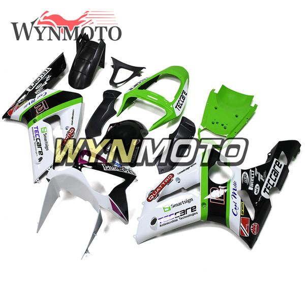 Beyaz Yeşil ABS Plastik Motosiklet Tam Fairing Takımı Kawasaki ZX6R ZX-6R Ninja 2003 2004 Vücut Kitleri Enjeksiyon Kaputlar ZX-6R 03 04 Yeni