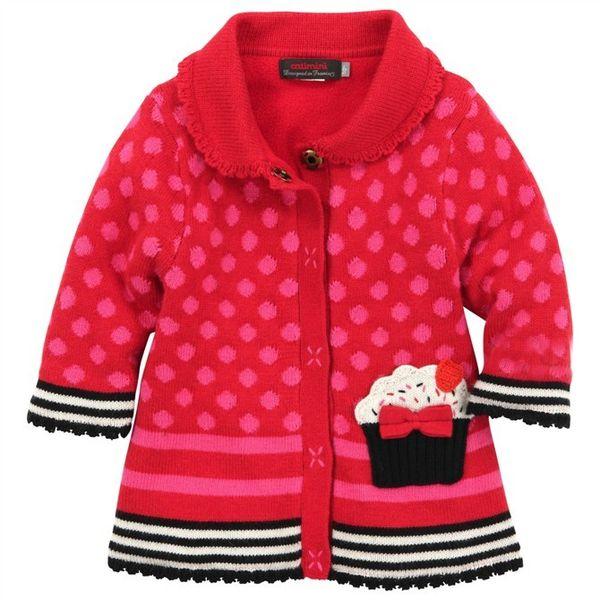 4 -6 años Marca Baby Girls Cake dot suéteres mangas largas Abrigo niños Franela de invierno engrosada Suéter Ropa para niños Envío gratis