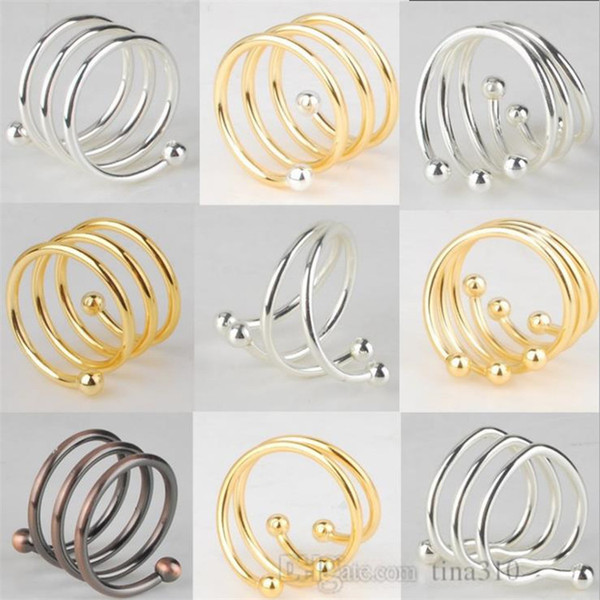 Fashion metal Napkin buckle Gold Line Silver Bead Napkin Ring Latest Hot-selling Napkin Decorative buckle T9I007