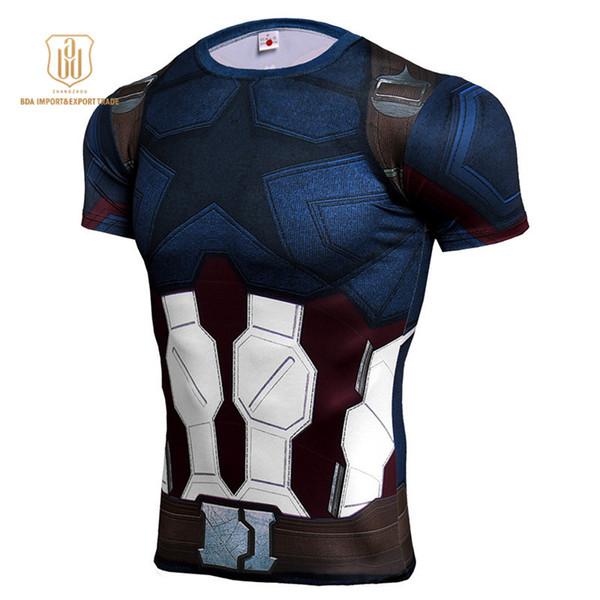 Avenger 4 Cosplay T-shirt Super Hommes Batman 3D Imprimé À Manches Courtes Sport Shirt Hommes Gym Séchage Rapide Tops Tees Vêtements A19