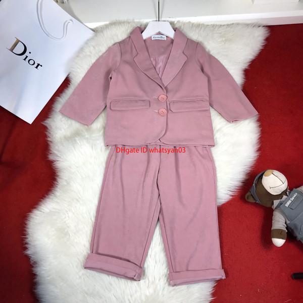 Mädchenklagensätze scherzt beiläufige Hosensätze der Entwerfer-Kleidungsgroßen Knopfblazer des Revers zwei + Hose 2pcs Herbst-unbedeutenden Art