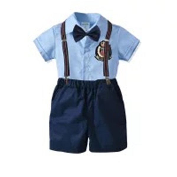 Kids Boys Casual Suits Summer Gentleman England Style Tatting Cotton Shirts+Bow Tie+Belt+Pants 4pcs Set Children Kids Boys Clothing Sets