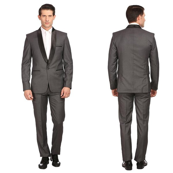 Traje Homme Tuxedos Padrinos de boda por encargo Slim Fit Dark Grey Suit Wedding Prom Party Trajes de los hombres Novio formal (chaqueta + pantalones)
