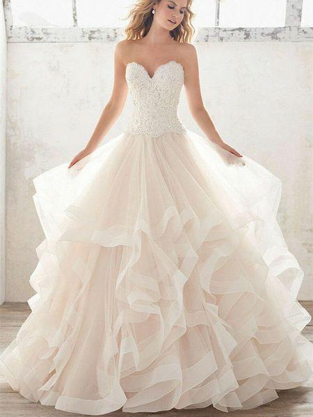 Lujo mullido en cascada vestidos de novia princesa vestido corsé del corsé del Organza de la colmena de la catedral vestido de bola vestidos de novia baratos