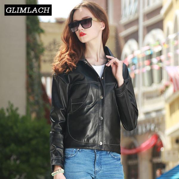 2019 irregular design streetwear women real leather jackets black genuine leather big pockets loose spring sheepskin short coats