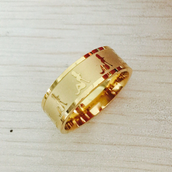 Anéis De Casamento 18KGF Gold-filled Lover's beauty Aço Inoxidável Anel Romântico Jóias EUA Tamanho