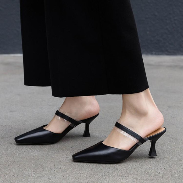 Cool 2019 Pattern Summer Slipper Woman Baotou Sharp Trip Bring Wine Glass Genuine Leather Sandals Ban Tuo