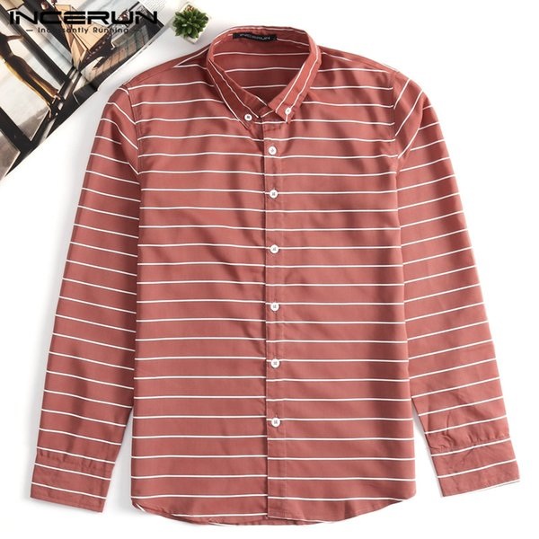 INCERUN 2019 Striped Men Dress Shirt Long Sleeve Lapel Neck Streetwear Casual Shirts Men Slim Fit Fashion Brand Basci Shirt