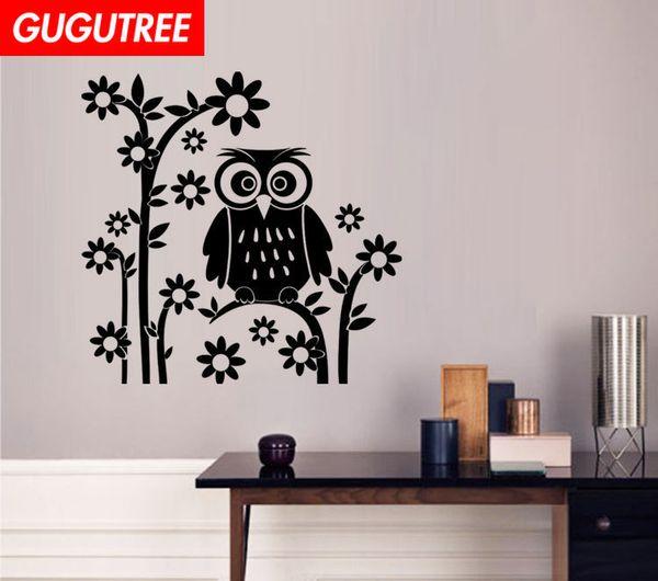 Decorate Home flower owl cartoon art wall sticker decoration Decals mural painting Removable Decor Wallpaper G-2053
