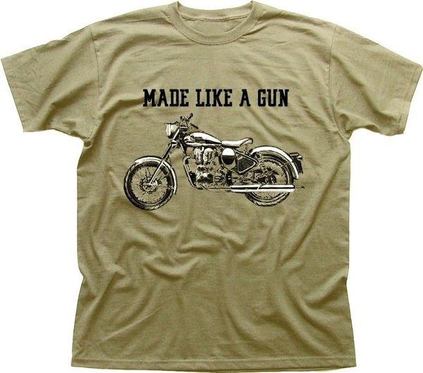 Royal Enfield - Made Like A Gun Футболка с логотипом Ретро-мотоцикл цвета хаки 2019 Новый с коротким рукавом мужская футболка с круглым вырезом
