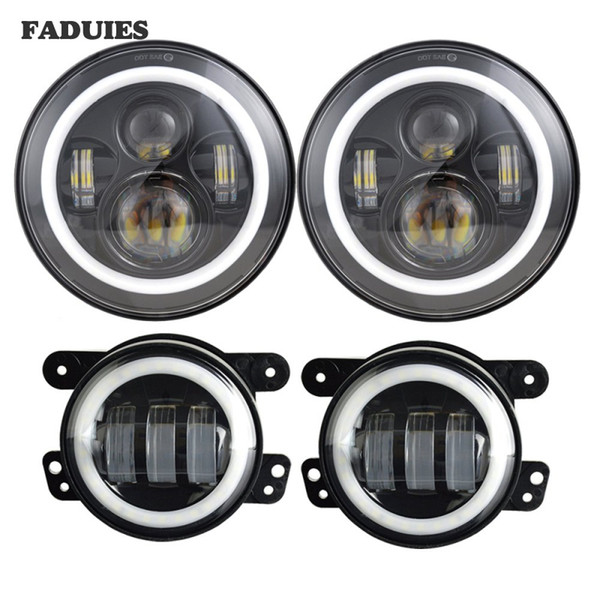 7inch Jeep LED Headlights with White DRL/Amber Turn Signal + 4 inch LED Fog Lights with White DRL Halo Ring for Jeep Wrangler 97-2017 JK LJ